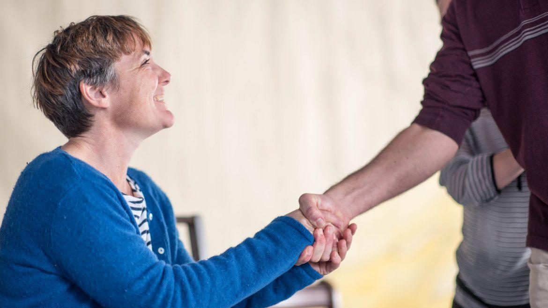 actors shaking hands - Cracked on Dementia